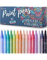 Paint pens for Rock Painting, Stone, Ceramic, Glass, Wood. Set of 15 Acrylic Paint Markers extra Fine Tip