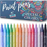 Paint pens for Rock Painting, Stone, Ceramic, Glass, Wood. Set of 15 Acrylic Paint Markers Extra-Fine Tip