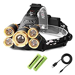 Super Bright Zoomable LED Head Torch, USB Rechargeable Waterproof Headlamp Adjustable Focus 4 Modes Headlight for Outdoor Camping Fishing Hunting Hiking Running Walking Cycling