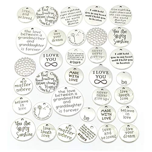 YETOOME 34 Pcs Round Inspirational Message Sayings Charms, Silver Words Charms Craft Supplies Mixed Pendants Beads Charms for Crafting Jewelry Making