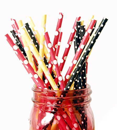 (Charmed Red Yellow and Black Polka Dot Paper Straw 75pk)