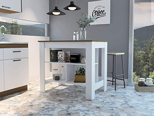Kitchen TUHOME ABD5011 Cala 3 Shelf Wooden Casual Kitchen Pantry Storage Island/Coffee Bar Prep Station Dining Area Cabinet… modern kitchen islands and carts