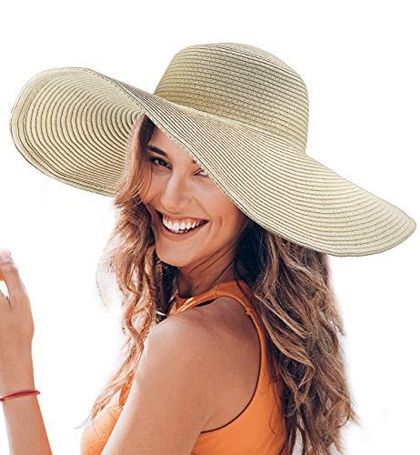 Straw Hat Wide Brim Beach Sun Hat with Adjustable Drawstring Beige ()