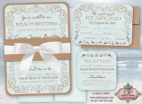 10 Vintage Beach Wedding Invitations Set 5x7 Double Layered with Belly Band & - Invitation Layered