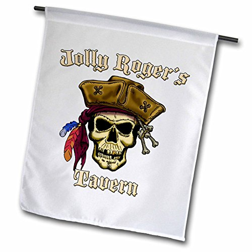 3dRose fl_22844_1 Pirate Skull with Jolly Roger S Tavern Garden Flag, 12 by 18-Inch