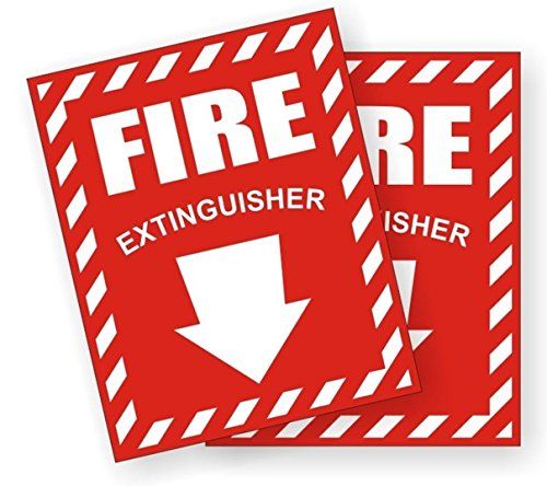 2-Pc Glistening Modern Fire Extinguisher Car Stickers Signs Industrial Emblem Windows Safety Truck Decor Size 3-3/4