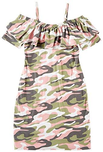 Derek Heart Girl Big Girls Camouflage Ruffle Dress Small Coral (Pink Camo Dress)