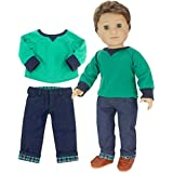 Sophia's 18 Inch Boy Doll Outfit Only 2 Pc. Green Shirt & Flannel Cuffed Jeans Outfit Only for Boy Dolls. Perfect for American Dolls and More!