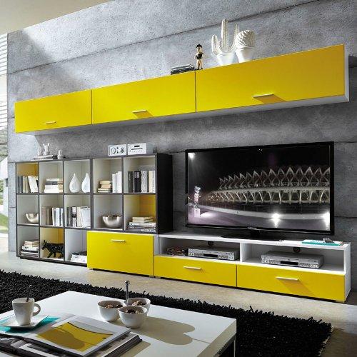 Wohnwand »STRAIGHT« gelb matt - weiß - anthrazit