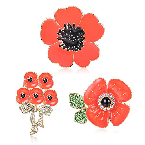 JOERICA 3 Pcs Poppy Pin Brooches for Women Men Red Poppy Flower Veteran Pin Remembrance Day Lest We Forget Pins Set