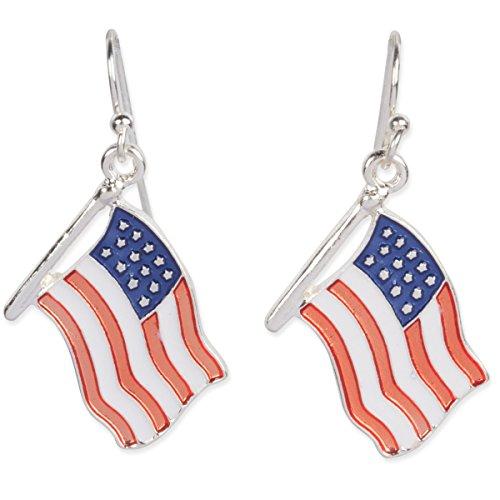 American Flag Patriotic Dangle Earrings Red White Blue Enamel Silver (Enamel French Hook Earrings)
