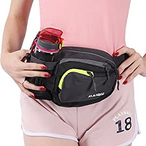 Innokids Hiking Fanny Pack with Water Bottle (Not Included) Holder on Right Side, Outdoor Sports Waist Bag, Running Belt, Lumbar Waist Pack for Walking Jogging Cycling Camping Travel (Dark Gray)