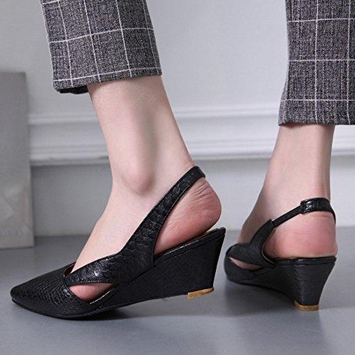 Moda Tacon Negro Mujer Cuna Medio De Puntiagudo Sandalias Slingback Zapatos TAOFFEN Tacon 5TxPaqP0