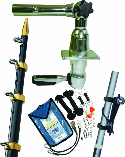 Taco Metals Grand Slam Outrigger Kit 280 Series Mounts, Black/Gold Poles, 15 X 1 1/2-Inch