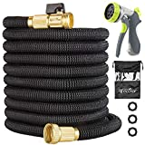 lifecolor 50ft Garden Hose, Expandable Water Hose with Double Latex Core, Solid Brass Fittings and Extra Strength Fabric, Durable Hose with 8 Function Spray Nozzle
