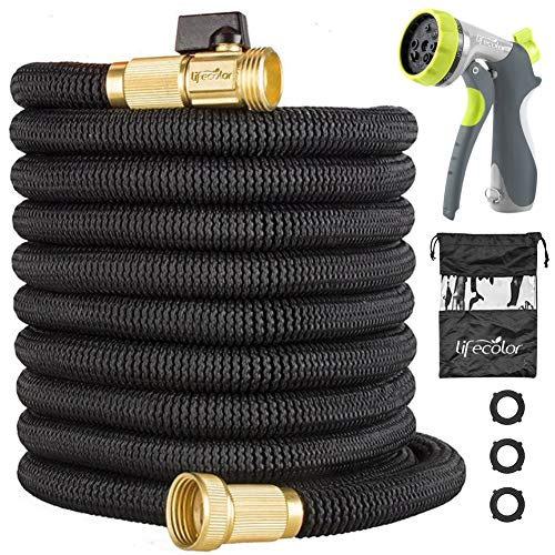- lifecolor 50ft Garden Hose, Expandable Water Hose with Double Latex Core, Solid Brass Fittings and Extra Strength Fabric, Durable Hose with 8 Function Spray Nozzle