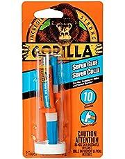 Gorilla Super Glue, Fast-Setting, Anti-Clog Cap, Versatile Cyanoacrylate Glue, Thicker Controlled Formula, Clear, Two 3g/0.11oz Mini Tubes (Pack of 1) 7900301
