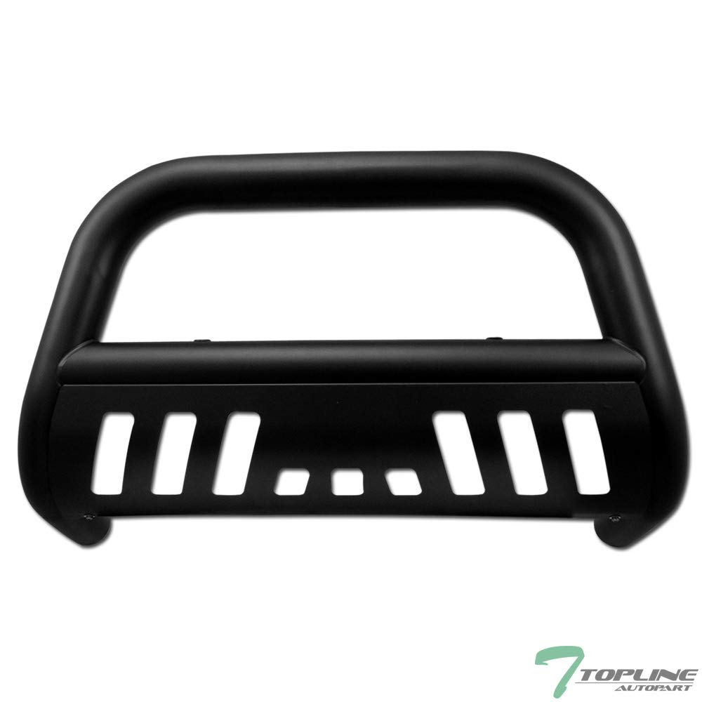 03-17 Expedition Topline Autopart Matte Black Bull Bar Brush Push Front Bumper Grill Grille Guard With Skid Plate For 04-19 Ford F150 03-14 Lincoln Navigator 06-08 Mark LT