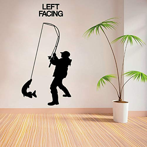Aisufen Fisherman Angler Fishing Vinyl Wall Art Sticker Decal Children Room Wall Stickers Art Living Room Wall Stickers 85143Cm