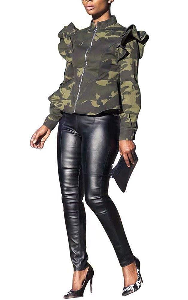 ThusFar Women Camouflage Jacket Ruffle Peplum Coat Camo Print Zipper Outwear