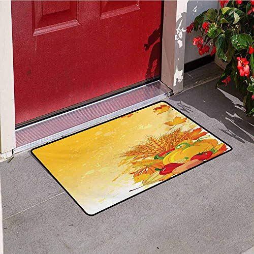 Jinguizi Harvest Commercial Grade Entrance mat Vivid Festive Collection of Vegetables Plump Pumpkins Wheat Fall Leaves for entrances garages patios W15.7 x L23.6 Inch Earth Yellow Green Red