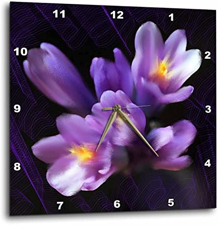 3dRose DPP_4867_3 Purple Flowers Wall Clock, 15 by 15-Inch