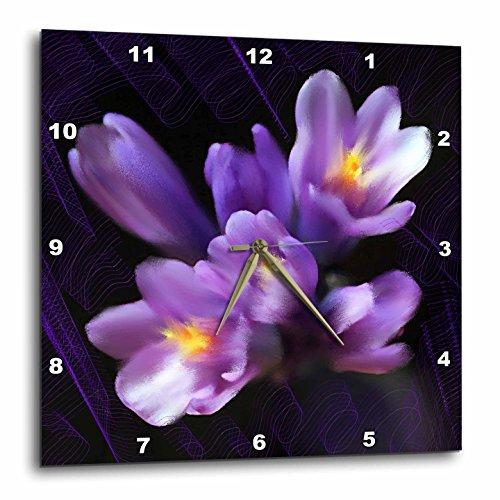Cheap 3dRose dpp_4867_2 Purple Flowers Wall Clock, 13 by 13-Inch