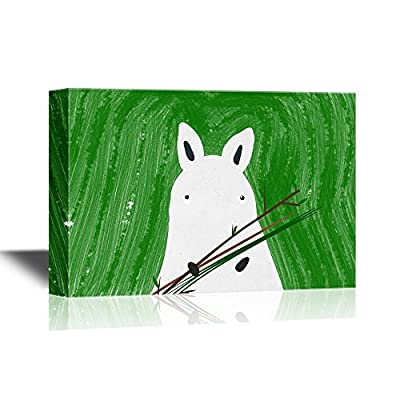 Hand Drawing Style Animal Canvas Wall Art - Rhino on Green Background - Gallery Wrap Modern Home Art | Ready to Hang - 12x18 inches