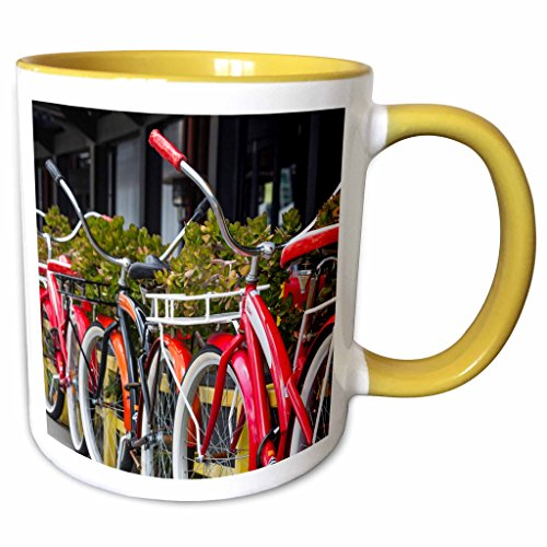 3dRose Danita Delimont - Bicycles - Australia, Victoria, Melbourne, South Wharf, bicycles outside. - 11oz Two-Tone Yellow Mug - Outlet South Wharf