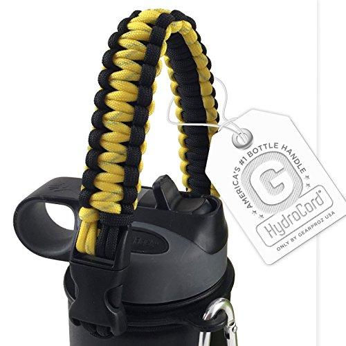 Best Hydro Flask Paracord Handle - America's #1 Original HydroCord with Safety Ring holds HydroFlasks and Nalgene Wide Mouth Water Bottles - Top Ratings, 20+ Colors (Yellow/Black)
