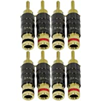 "GLS Audio Locking Series ""Generation 4"" Gold Connector Banana Plugs Banana Clips - 8 Pack (4 Red & 4 Black)"