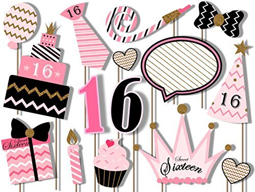 Sweet 16 Birthday Elegant Pink and Gold Photo Booth Props Kit - Party Camera Props Fully Assembled by Birthday Galore