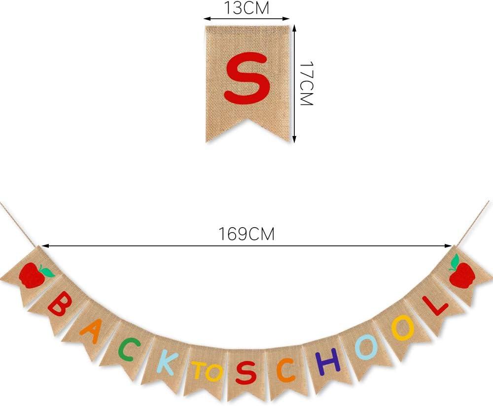 Sayala Zur/ück zur Schule Bleistift Banner,Apfel Banner Schule Willkommen Banner f/ür Ersten Schul Tag Klassenzimmer Party Dekorationen f/ür Klassenzimmer