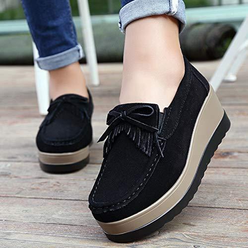 de Qiusa Negro Bowknot Mocasines Borla Marrón EU Zapatos Cuero Mujer Casaul 38 Color tamaño Plataforma qwwUtra