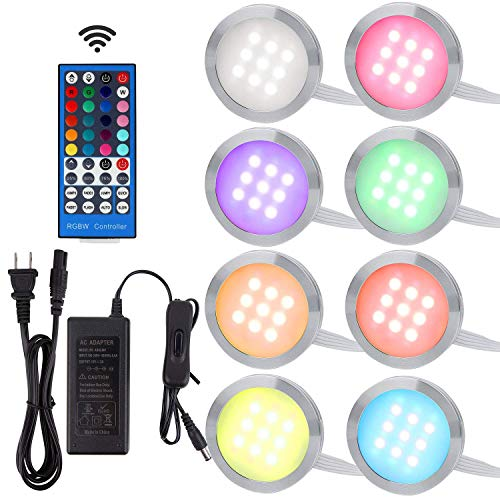 Aiboo RGBW RGB + White Color Changing Christmas Xmas Decorating Under Cabinet LED Lighting Kit Wireless 40-Key IR Remote Control for Party Entertainment Lighting (RGBW, 8 Lights, 24W) (Christmas Decorating Bookcase)