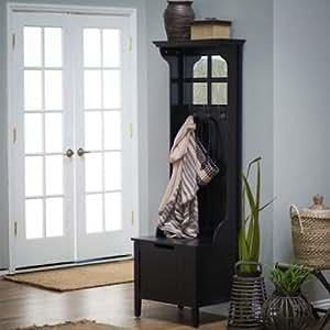 Amazon.com: Black Entryway Mini Hall Tree with Mirror Coat