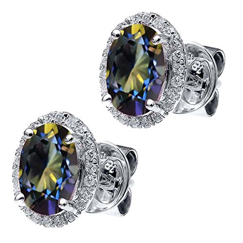 2.03 Ct Oval Diamond (2.03 Ct Oval Blue Mystic Topaz White Diamond 18K White Gold)