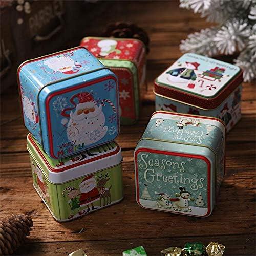 Cratone 5 St/ücke Pl/ätzchendose Weihnachten Geb/äckdosen eckig Pl/ätzchen Dose Weihnachtsmann Schneemann Muster Weihnachtsgeschenkbox Geschenkbox f/ür S/ü/ßigkeiten Keks