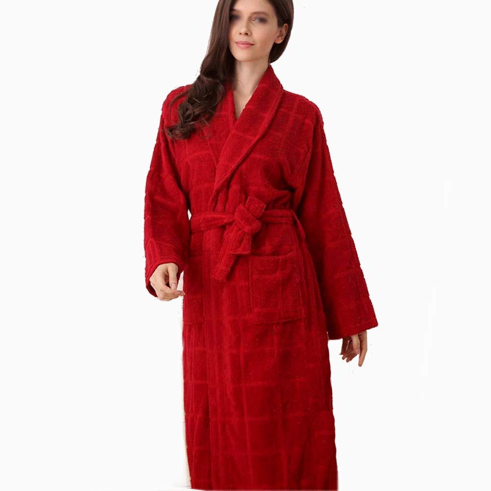 GJFeng Baumwollbademantel-Handtuchmaterial Dicker Baumwollbademantel Damen Langarm Schweißabsorbierender Bademantel (Farbe   ROT, größe   L)