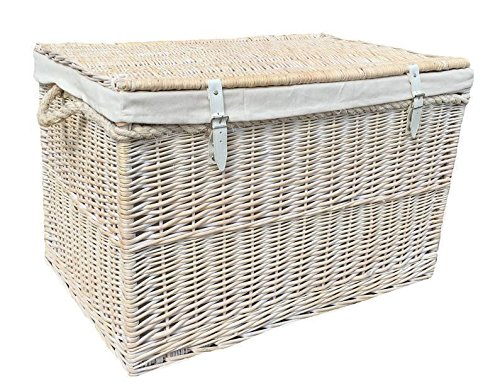 Large White Wash Storage Hamper With White Lining Wicker Basket by Red Hamper
