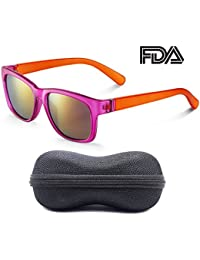 Colored Mirror Matte Frosted Girls Sunglasses - 100% UV...