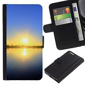 Be Good Phone Accessory // Caso del tirón Billetera de Cuero Titular de la tarjeta Carcasa Funda de Protección para Apple Iphone 6 PLUS 5.5 // Sunset Beautiful Nature 55