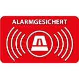 Aufkleber Alarmgesichert 5 x 3cm • Rechteckig mit abgerundeten Ecken • Dezent aber wirkungsvoll