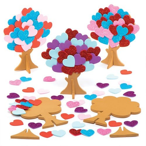 Baker Ross Love Heart Tree Kits for Children to Make and Decorate - Valentines Craft Toy for Kids (Pack of