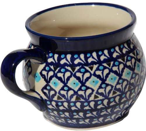 Polish Pottery Potbelly Coffee Mug 16 Oz. From Zaklady Ceramiczne Boleslawiec #910-217a Traditional Pattern, Capacity: 16 Oz.