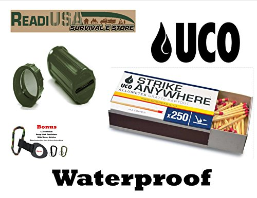 """Readi USA Waterproof Fire Pack - 250 UCO """"Strike Anywhere"""" Kitchen Matches, 3N1 Match Container & Bonus Casrabiner & Water Bolttle Holder"""