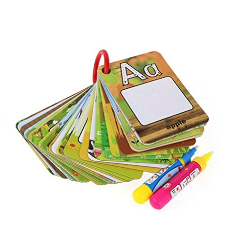 Reusable Water Coloring Cards+2 Magic Drawing Pens,Graffiti Doodle Board 26 Letters Cognitive Cards A-Z Alphabet Word Games,Number 1-10 Shape Early Education Toy for Toddlers Kids (multicolored) ()