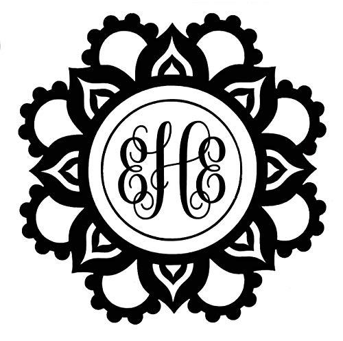 Custom Initial Monogram Decal Bumper Sticker, for Tumblers, Laptops, Car Windows - Mandala Flower Decal Design