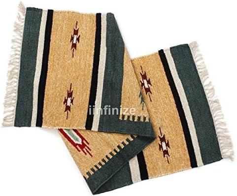 iinfinize Alfombra de algodón para pasillo de seda india de 2 x 6 pies, alfombra de meditación, alfombra de suelo para yoga Dhurrie: Amazon.es: Hogar