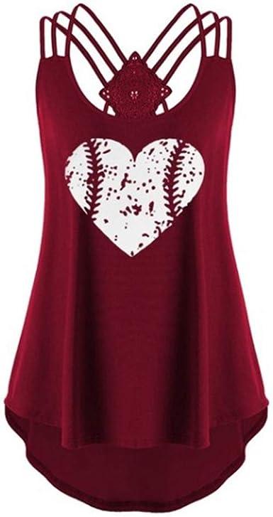 YEBIRAL Camisetas de Mujer Redondo Cuello Sin Mangas Sin ...
